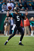 Jacksonville Jaguars quarterback Blake Bortles (5) passes for a touchdown to Ben Koyack (not shown) in the third quarter during an NFL Wild-Card football game against the Buffalo Bills, Sunday, January 7, 2018, in Jacksonville, Fla.  (Mike Janes Photography)