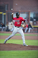 Billings Mustangs starting pitcher Luis Alecis (56) delivers a pitch during a Pioneer League game against the Idaho Falls Chukars at Melaleuca Field on August 22, 2018 in Idaho Falls, Idaho. The Idaho Falls Chukars defeated the Billings Mustangs by a score of 5-3. (Zachary Lucy/Four Seam Images)