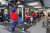 (L-R) Martin Olsson and Mike van der Hoorn exercise in the gym during the Swansea City Training Session and Press Conference at The Fairwood Training Ground, Wales, UK. Thursday 29 March 2018