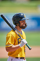 Jack Mayfield (2) of the Salt Lake Bees during the game against the Las Vegas Aviators at Smith's Ballpark on June 27, 2021 in Salt Lake City, Utah. The Aviators defeated the Bees 5-3. (Stephen Smith/Four Seam Images)