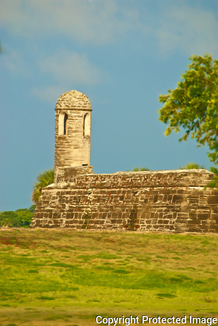 Castillo de San Marcos on a warm sping evening in historic downtown St. Augustine, Florida