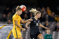 June 7, 2016: STEPHANIE CATLEY (7) of Australia heads the ball during an international friendly match between the Australian Matildas and the New Zealand Football Ferns as part of the teams' preparation for the Rio Olympic Games at Etihad Stadium, Melbourne. Photo Sydney Low