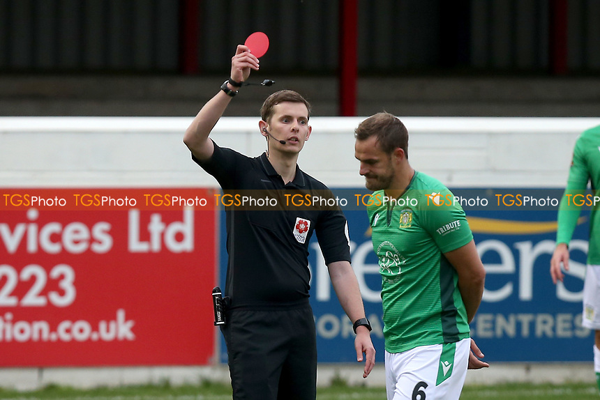 Luke Wilkinson of Yeovil Town is shown a red card and sent off during Dagenham & Redbridge vs Yeovil Town, Vanarama National League Football at the Chigwell Construction Stadium on 17th October 2020