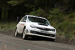 14th September 2012 - Devils Bridge - Mid Wales : WRC Wales Rally GB SS6 Myherin stage : Lorenzo Bertelli and co driver Lorenzo Granai of Italy in their Subaru Impreza WRX STi.