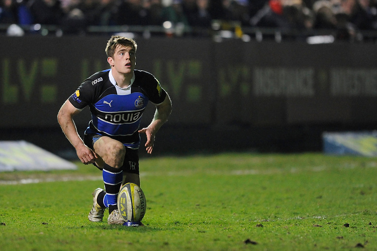 Tom Heathcote of Bath Rugby prepares to take a penalty kick during the LV= Cup semi final match between Bath Rugby and Leicester Tigers at The Recreation Ground, Bath (Photo by Rob Munro, Fotosports International)
