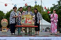 August 11 2012 - Montreal (Qc) Canada - Matsuri Japon Festival 11th edition.<br /> <br /> Kagami-biraki  : Traditional sake barrel opening ceremony of Matsuri Japon 2012 by (L to R) : <br /> Mme. Mary Deros, Conseillere municipale, Villeray-Saint-Michel-Parc-Extension<br /> Mr. Alan Itakura, President, JCCCM<br /> Mr.Tatsuo Arai, Consul Général du Japon<br /> Mme. Jennifer Sakai, Presidente, Matsuri Japon<br /> Matsuri Japon is a free event promoting Japanese culture to the general public.