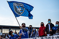 SAN JOSE, CA - MAY 15: San Jose Earthquakes fans during a game between San Jose Earthquakes and Portland Timbers at PayPal Park on May 15, 2021 in San Jose, California.
