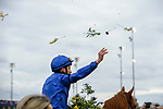 November 2, 2018:Jockey William Buick throws flowers in the air after surviving a stewards inquiry and winning the Juvenile Turf on Breeders' Cup World Championship Friday at Churchill Downs on November 2, 2018 in Louisville, Kentucky.Casey Phillips/Eclipse Sportswire/CSM