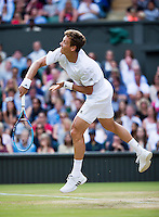 London, England, 3 July, 2016, Tennis, Wimbledon, Tomas Berdych (CZE) serves the ball during his match against Alexander Zverev (GER)<br /> Photo: Henk Koster/tennisimages.com