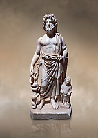 Roman statue of Asklepios. Marble. Perge. 2nd century AD. Inv no . Antalya Archaeology Museum; Turkey. Against a warm art background.<br /> <br /> Asclepius was a hero and god of medicine in ancient Greek religion and mythology.