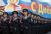 Moscow, Russia, 04/05/2010..Russian sailors march toward Red Square for a night time rehearsal for the forthcoming May 9 Victory Day parade, scheduled to be the largest for many years.
