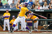 LSU Tigers outfielder Chris Sciambra (5) follows through on his swing against the TCU Horned Frogs in Game 10 of the NCAA College World Series on June 18, 2015 at TD Ameritrade Park in Omaha, Nebraska. TCU defeated the Tigers 8-4, eliminating LSU from the tournament. (Andrew Woolley/Four Seam Images)