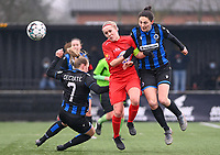 duel pictured between Elle Decorte (7) of Club Brugge ,  Jana Simons (8) of Woluwe and Frieke Temmerman (17) of Club Brugge during a female soccer game between Club Brugge Dames YLA and White Star Woluwe on the 12 th matchday of the 2020 - 2021 season of Belgian Scooore Womens Super League , saturday 30 January 2021  in Brugge , Belgium . PHOTO SPORTPIX.BE | SPP | DAVID CATRY