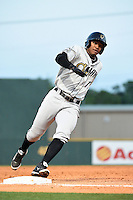 Omaha Storm Chasers second baseman Jimmy Paredes (17) runs the bases during the first game of a double header against the Nashville Sounds on May 21, 2014 at Herschel Greer Stadium in Nashville, Tennessee.  Nashville defeated Omaha 5-4.  (Mike Janes/Four Seam Images)
