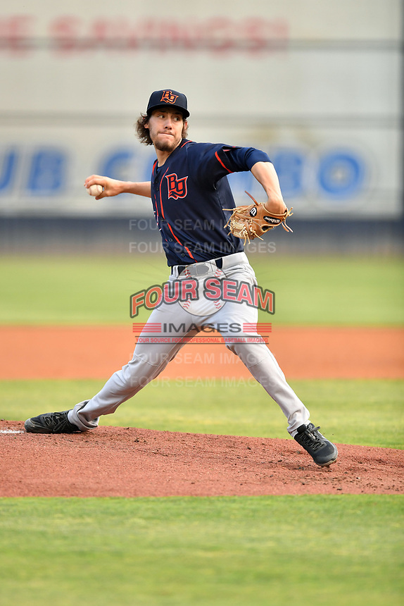 Bowling Green Hot Rods starting pitcher Jayden Murray (18) delivers a pitch during a game against the Asheville Tourists on May 25, 2021 at McCormick Field in Asheville, NC. (Tony Farlow/Four Seam Images)