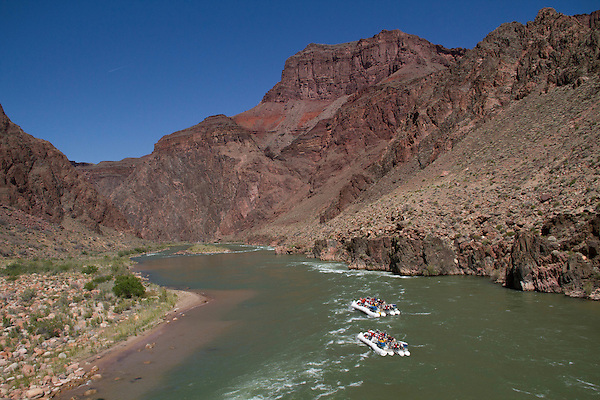 Whitewater rafters on the Colorado River at Phantom Ranch Campground, Grand Canyon, Arizona. . John offers private photo tours in Grand Canyon National Park and throughout Arizona, Utah and Colorado. Year-round.