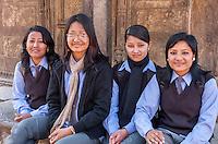 Bhaktapur, Nepal.  Newari Girls, Teenagers, in Final Year of Secondary School, in School Uniforms.