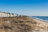 Waterfront beach houses along Carolina Beach, North Carolina, USA
