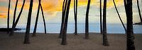 Sunrise at A Beach (Anaehoomola Bay) with palm trees and beach. Hawaii, The Big island, ocean,oceans,oceanic,sea,seas,seascape,<br /> seascapes,beach,beaches,coast,surf,<br /> coastline,coastlines,coast line,coast lines,coastal,shore,shores,shoreline,shorelines,<br /> shore line,shore lines,beachshore,seashore,<br /> sea shore,body of water,seaside,waterfront,coastal region<br /> palm trees,sandy beach
