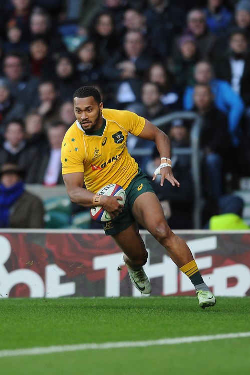 Sefa Naivalu of Australia crosses the line to score a try during the Old Mutual Wealth Series match between England and Australia at Twickenham Stadium on Saturday 3rd December 2016 (Photo by Rob Munro)