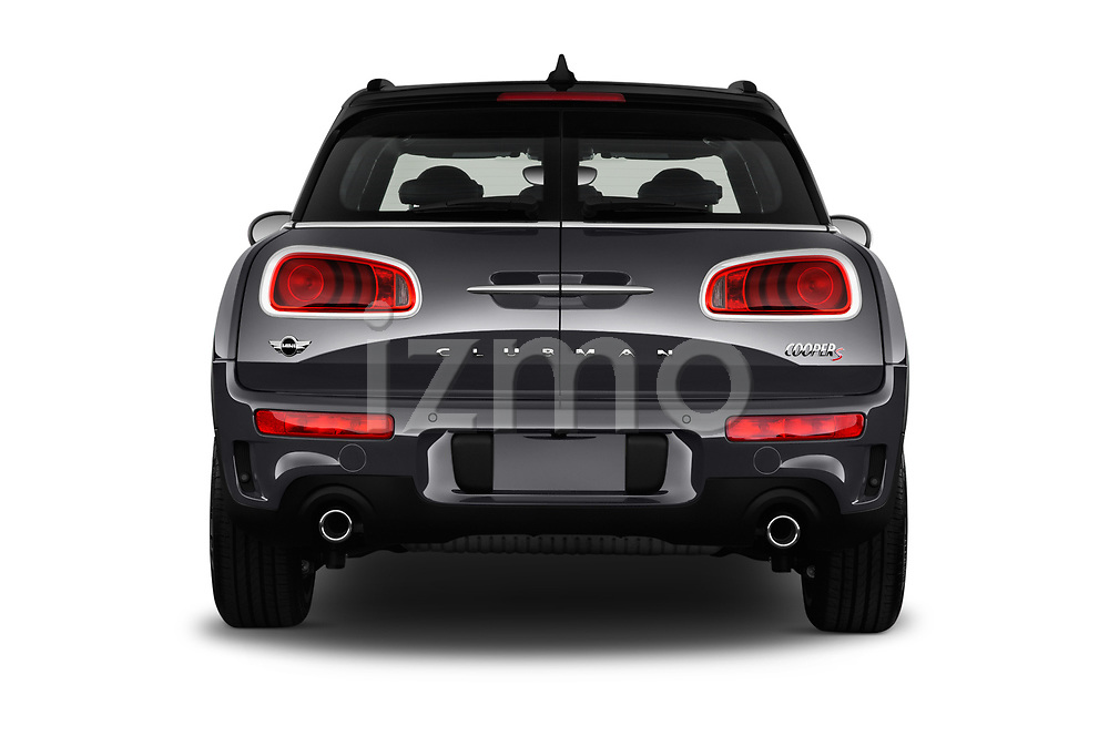 Straight rear view of 2017 MINI Cooper Clubman-S-ALL4 5 Door Wagon Rear View  stock images