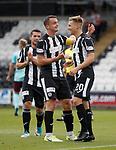 Gavin Reilly (R) celebrates his goal for St Mirren with captain Stephen McGinn