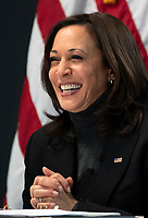 United States Vice President Kamala Harris meets with women leaders in Congress and advocacy organizations on the American Rescue Plan, during a virtual roundtable on the American Rescue Plan, at the Eisenhower Executive Office Building in Washington, DC on Thursday, February 18, 2021. The Rescue Plan includes direct payments to those in need, money to help reopen schools and extended unemployment benefits. <br /> Credit: Kevin Dietsch / Pool via CNP /MediaPunch