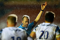 3rd January 2021; Welford Road Stadium, Leicester, Midlands, England; Premiership Rugby, Leicester Tigers versus Bath Rugby; Referee Wayne Barnes awards a penalty to Bath