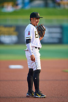 Kean Wong (1) of the Salt Lake Bees during the game against the Sacramento River Cats at Smith's Ballpark on August 16, 2021 in Salt Lake City, Utah. The Bees defeated the River Cats 6-0. (Stephen Smith/Four Seam Images)