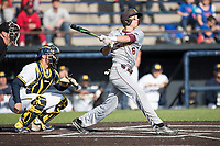 Central Michigan Chippewas shortstop Alex Borglin (6) follows through on his swing against the Michigan Wolverines on May 9, 2017 at Ray Fisher Stadium in Ann Arbor, Michigan. Michigan defeated Central Michigan 4-2. (Andrew Woolley/Four Seam Images)