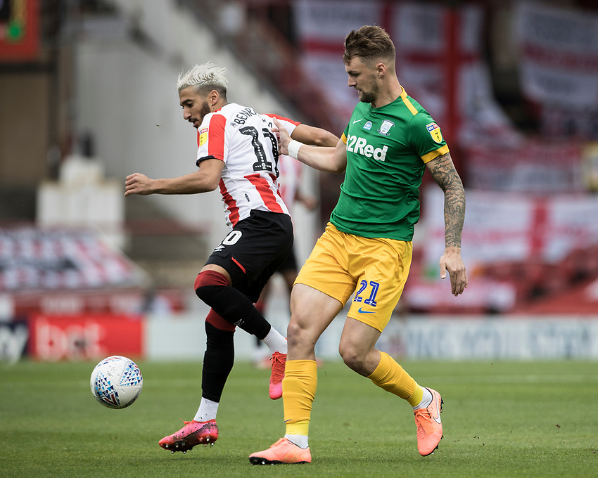 Preston North End's Patrick Bauer (right) competing with Brentford's Said Benrahma <br /> <br /> Photographer Andrew Kearns/CameraSport<br /> <br /> The EFL Sky Bet Championship - Brentford v Preston North End - Wednesday 15th July 2020 - Griffin Park - Brentford <br /> <br /> World Copyright © 2020 CameraSport. All rights reserved. 43 Linden Ave. Countesthorpe. Leicester. England. LE8 5PG - Tel: +44 (0) 116 277 4147 - admin@camerasport.com - www.camerasport.com