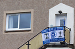 The city of Perth shows it's support for St Johnstone ahead of Saturdays Scottish Cup Final against Hibs at Hampden... 21.05.21<br />A St Johnstone supporter flies a flag from their house in the Letham area of Perth ahead of saturday's Scottish Cup Final against Hibs.<br />Picture by Graeme Hart.<br />Copyright Perthshire Picture Agency<br />Tel: 01738 623350  Mobile: 07990 594431