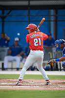 Philadelphia Phillies Yahir Gurrola (21) at bat during an Instructional League game against the Toronto Blue Jays on October 7, 2017 at the Englebert Complex in Dunedin, Florida.  (Mike Janes/Four Seam Images)