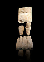 9th century BC Giants of Mont'e Prama  Nuragic stone statue of a warrior, Mont'e Prama archaeological site, Cabras. Museo archeologico nazionale, Cagliari, Italy. (National Archaeological Museum) - Black Background