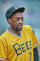 Jo Adell (7) of the Salt Lake Bees before the game against the Tacoma Rainiers at Smith's Ballpark on May 16, 2021 in Salt Lake City, Utah. The Bees defeated the Rainiers 8-7. (Stephen Smith/Four Seam Images)