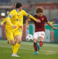 Calcio, Champions League: Gruppo E - Roma vs Bate Borisov. Roma, stadio Olimpico, 9 dicembre 2015.<br /> Roma's Salih Ucan, right, kicks the ball during the Champions League Group E football match between Roma and Bate Borisov at Rome's Olympic stadium, 9 December 2015.<br /> UPDATE IMAGES PRESS/Riccardo De Luca