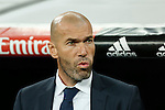 Real Madrid´s coach Zinedine Zidane during 2015/16 La Liga match between Real Madrid and Espanyol at Santiago Bernabeu stadium in Madrid, Spain. January 31, 2016. (ALTERPHOTOS/Victor Blanco)