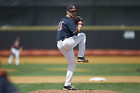 Virginia Cavaliers relief pitcher Riley Wilson (15) in action against the Wake Forest Demon Deacons at David F. Couch Ballpark on May 19, 2018 in  Winston-Salem, North Carolina. The Demon Deacons defeated the Cavaliers 18-12. (Brian Westerholt/Four Seam Images)