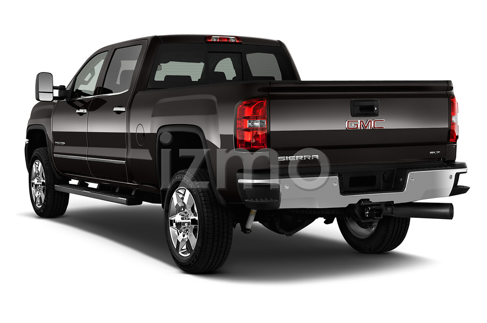 Car pictures of rear three quarter view of a 2019 GMC Sierra 2500HD 2WD Crew Cab Standard Box SLT 4 Door Pick Up angular rear