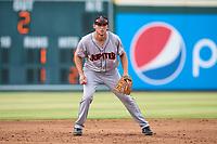 Jupiter Hammerheads third baseman Zack Kone (28) during a game against the Bradenton Marauders on June 23, 2021 at LECOM Park in Bradenton, Florida.  (Mike Janes/Four Seam Images)