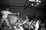 Security fighting with stage-diver and crowd at the SNFU concert at the Speedway Cafe.<br />