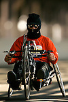 Nelson DeJesus (USA) crosses the Queensboro bridge from Queens into Manhattan in his handcycle wheelchair during the ING New York City Marathon in New York, New York on November 4, 2007.  Alejando Albor (USA) won the race with a time of 1:17:48.