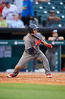 Lehigh Valley IronPigs second baseman Heiker Meneses (3) squares around to bunt during a game against the Buffalo Bisons on June 23, 2018 at Coca-Cola Field in Buffalo, New York.  Lehigh Valley defeated Buffalo 4-1.  (Mike Janes/Four Seam Images)