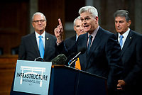 United States Senator Bill Cassidy (Republican of Louisiana) makes remarks after the vote on the motion to invoke cloture to proceed to the consideration of H.R. 3684, the INVEST in America Act on Capitol Hill in Washington, DC on Wednesday, July 28, 2021. The vote to begin discussion of the bipartisan infrastructure bill agreed to by the White House, was 67 to 32. If passed, the bill would invest close to $1 trillion in roads, bridges, ports and other infrastructure without a major tax increase.<br /> Credit: Rod Lamkey / CNP / MediaPunch