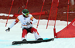 14/03/2014. Canadian John Leslie competes in the men's para snowboard cross standing event at the 2014 Sochi Paralympic Winter Games in Sochi, Russia.(Photo: Scott Grant/Canadian Paralympic Committee)