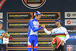 Race winner Thibaut Pinot (FRA) Groupama-FDJ on the podium congratulated by World Champion Alejandro Valverde (ESP) Movistar Team 3rd place at the end of the 99th edition of Milan-Turin 2018, running 200km from Magenta Milan to Superga Basilica Turin, Italy. 10th October 2018.<br /> Picture: Eoin Clarke | Cyclefile<br /> <br /> <br /> All photos usage must carry mandatory copyright credit (© Cyclefile | Eoin Clarke)