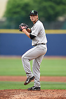 Dayton Dragons pitcher Layne Somsen (11) delivers a pitch during a game against the Lake County Captains on June 8, 2014 at Classic Park in Eastlake, Ohio.  Lake County defeated Dayton 4-2.  (Mike Janes/Four Seam Images)