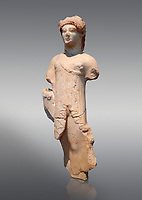 Marble Ancient Archaic Greek statuette of a Kore, from Aleusis, C. 490-480 BC, Athens National Archaeological Museum. Cat No 24.  Against grey.