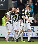 St Mirren v St Johnstone...19.10.13      SPFL<br /> Steven Thompson celebrates his goal<br /> Picture by Graeme Hart.<br /> Copyright Perthshire Picture Agency<br /> Tel: 01738 623350  Mobile: 07990 594431