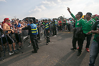 MEXICO CITY, MEXICO - June 11, 2017:  USA fans and Mexico fans share jeers before entering the World Cup Qualifier match against Mexico at Azteca Stadium.